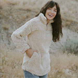 Cozy Sherpa fur teddy pullover faux fur sweater
